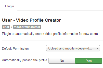 JMS Video profile creator plugin